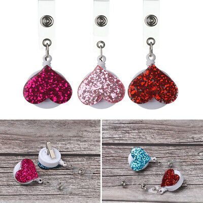 Retractable Clip ID Name Card Love Heart Shape Lanyards Badge Holder Key Ring