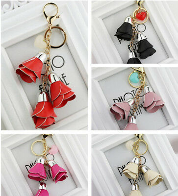 Leather Rose Flower Pendant Keyring Car Keychain Women Bag Accessories Gorgeous