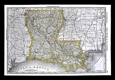 1892 Rand McNally Railroad Map Louisiana New Orleans Alexandria Shreveport RR
