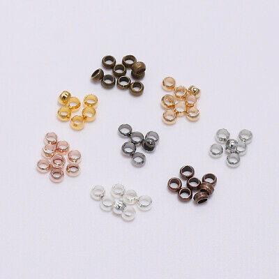 500pcs Gold Silver Copper Crimp End Stopper Spacer Beads For DIY Jewelry Making