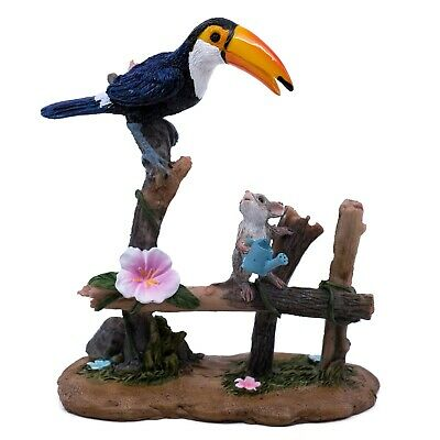 "Toucan Watering Garden With Mouse Mini Figurine 4.5"" High New In Box!"