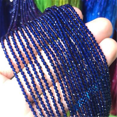 3Pcs 2mm Royal Blue Spinel Section Loose Bead Jewelry 15.5inches Craft Lots