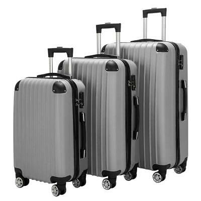 New Hardside 3 Piece Nested Spinner Suitcase Lightweight Luggage Set Rolling Box