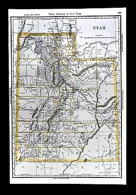 1892 Rand McNally Railroad Map Utah Salt Lake City Moab Ogden Provo Logan RR