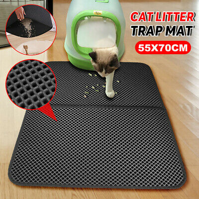 Pet Cat Litter Trapping Mat Double Layer Honeycomb Design Foldable Tray Trap Pad