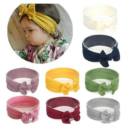 8pcs Baby Headbands Turban 8 Colors Knotted Super Soft Stretchy Girls Hairbands