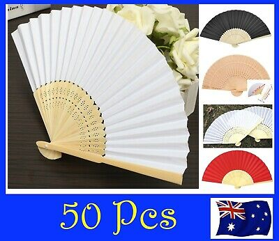 Bulk 50 Chinese Hand Folding Silk Bamboo Wooden Paper Fan White Red Pink Flower