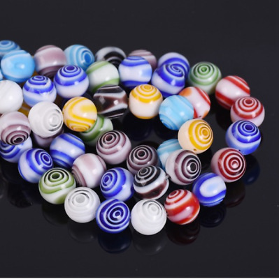 20pcs 10mm Round Lampwork Millefiori Glass Charm Loose Beads Circle Mixed Colour