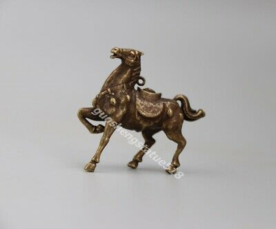 4 CM Pure Bronze Chinese Zodiac Animal Horse equine Wealth Fengshui Pendants