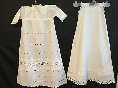 Antique Victorian Edwardian Cotton Eyelet Baby Christening Baptism Gown w Slip