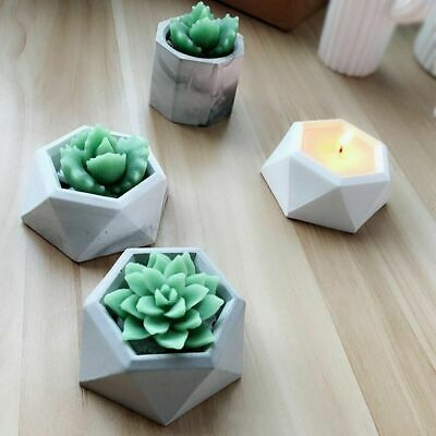 Diamond Shaped Surface Succulent Plant Flower Pot Silicone Mold Candle Holder