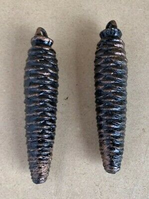 """Pair of Vintage Cast Iron Cuckoo Clock Pine Cone Weights  9.6 Oz Each 4.5"""" Long"""