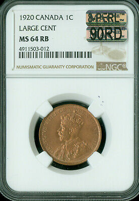 1920 Canada Large Cent Ngc Mac Ms-64 Rb 8-Perl 90Rd 90% Red 1St Strike *