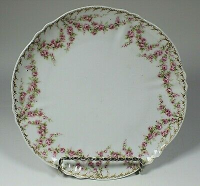 Theodore Haviland Hand Painted Pink Floral Dinner Plates HP Chandlee Importer 2L