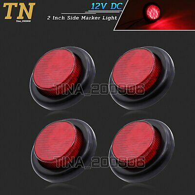 "4 x 12V DC Red 10 LED 2"" Round Side Mount Marker Lamp Tow Truck Light Waterproof"