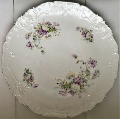 "Antique 12"" Charger Plate Vanity Tray purple flowers fine quality porcelain"