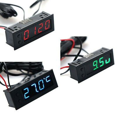 12V 3 In 1 Auto Car Kit Thermometer Battery Voltage Voltmeter Clock LED Digital