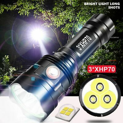 Tactical 120000LM 3*XHP70 LED Flashlight Torch USB Rechargeable Light Zoomable