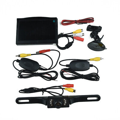 Car Rear View Camera+Wireless Backup LCD Monitor License Plate Set Replacement