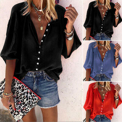 Womens Casual Button Down Shirt Solid Plus Size V Neck Retro Loose Blouse Tops