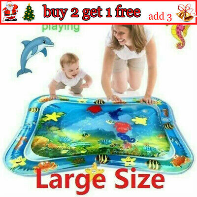 Baby Water Play Mat Inflatable For Infants Toddlers Fun Tummy Time Sea World AV