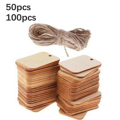 50/100pcs Wooden Labels Unfinished Rectangle Blank Wood Gift Tags Wedding Party