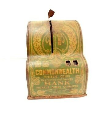 early tin Commonwealth 3 coin bank, copyright 1905; Shonk Works, American Can Co