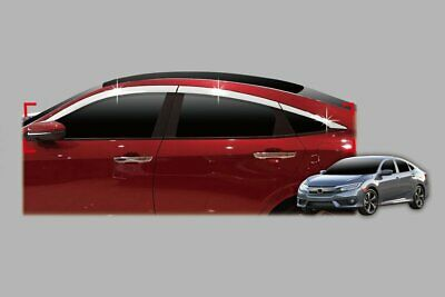 For Honda Civic 2018+ 4 Door Saloon Chrome Wind Deflectors Set (6 pcs)