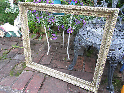 Large Vintage Ornate Wooden Picture Frame Baroque Gold Gilt Off White 20X24""