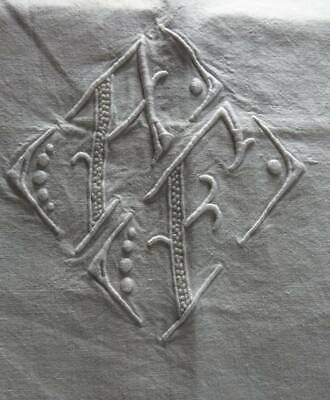 """Antique UNUSED large quality French linen metis sheet monogram """"A.F"""" 80"""" x 120"""""""
