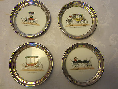 "Vintage Lenox Sterling Silver 4 Coaster Set  white milk glass cars 4 1/2"" across"