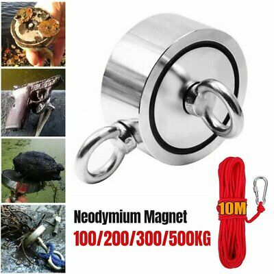 1100LB Round Double Sided Super Strong Neodymium Fishing Magnet Pulling Force UK