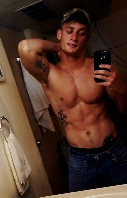 Shirtless Male Red Neck Country Boy Treasure Trail Tattoos Rifle PHOTO 4X6 C834