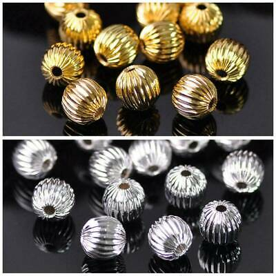 Gold/Silver Round Plicated Loose Metal Brass Beads lot 6mm 8mm for DIY Jewelry