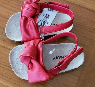 NEW Old Navy Baby Girls 6-12 MONTHS Red Bow Sandals Adjustable Strap #10419