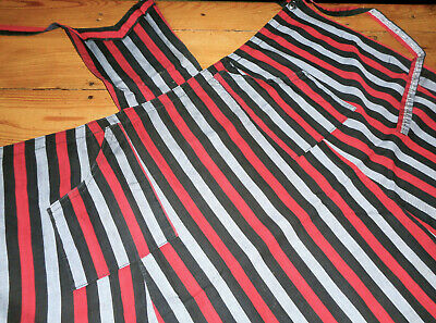 Antique Vtg. French Full Apron ~ Red Black Gray Stripe Cotton Workwear Fabric ~