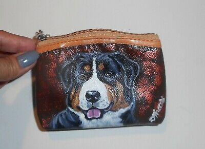 Greater Swiss Mountain dog Hand Painted Coin Purse Key Ring