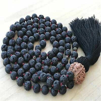 8mm Natural Lava Stone 108 Beads Tassel Knotted Necklace Meditation Buddhism