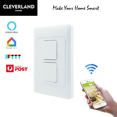 AU Approved Smart Home 2 Gang WiFi Light Switch for Google home Alexa APP Remote