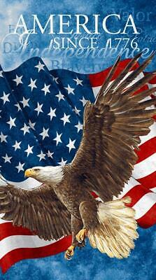 """Star Stripe Patriotic Red White Blue Flag Eagle Flannel 24"""" Quilt Fabric Panel"""