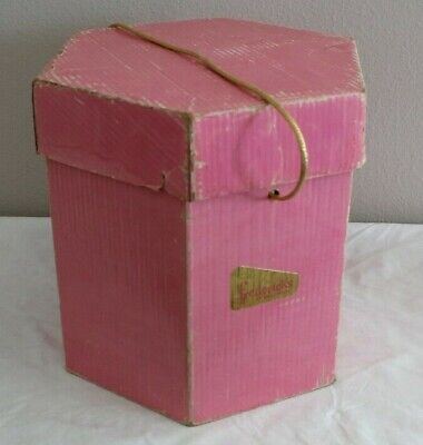 Vintage Pink With Gold Cloth Handle Frederick's Of Hollywood Hexagon Hat Wig Box