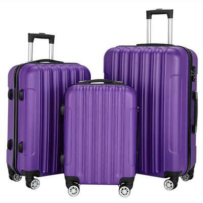 3 X Travel Luggage Set Bag Durable ABS Hard Shell Trolley Suitcase w/TSA lock