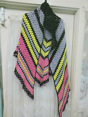 Vintage Crochet Shawl with Hood Nice Colours