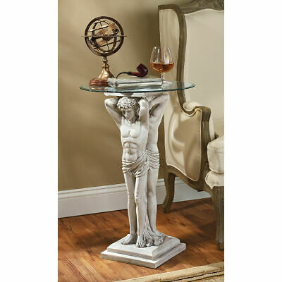 Neoclassical Style Atlas Figures Male Form Holding Glass Topped Table Sculpture