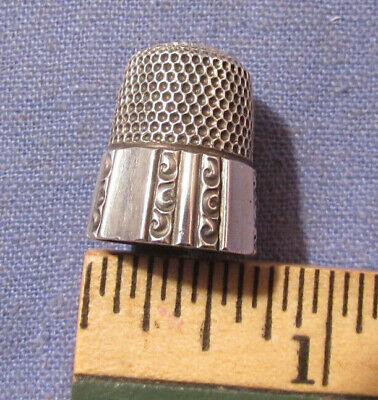 Antique Simons Bros 925 Sterling Silver Thimble Size 10 Fancy Paneled