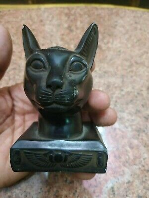 RARE ANCIENT EGYPTIAN ANTIQUE Cat Bastet Carved Stone For decoration