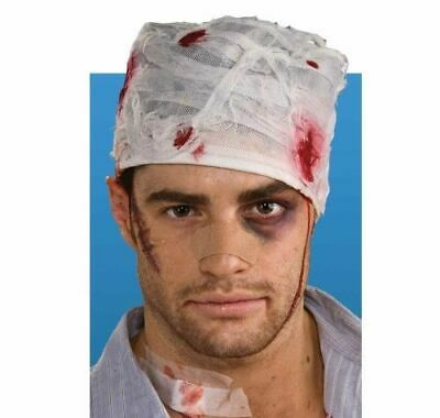Halloween Bloodied Head Bandage Zombie Bloody Blood Hat Gory Fancy Dress Costume