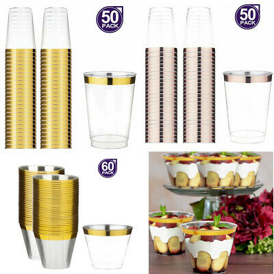 50/60pcs Disposable Hard Plastic Dessert Cups Tumblers Cocktail Wine Champagne