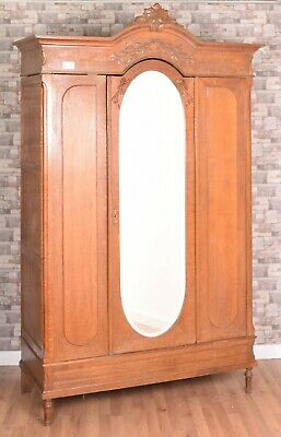 French Belgium Continental Oak Glazed Mirrored Door Carved Armoire Wardrobe