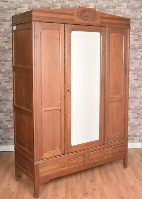 French Belgium Continental Oak Carved Glazed Mirrored Armoire Wardrobe